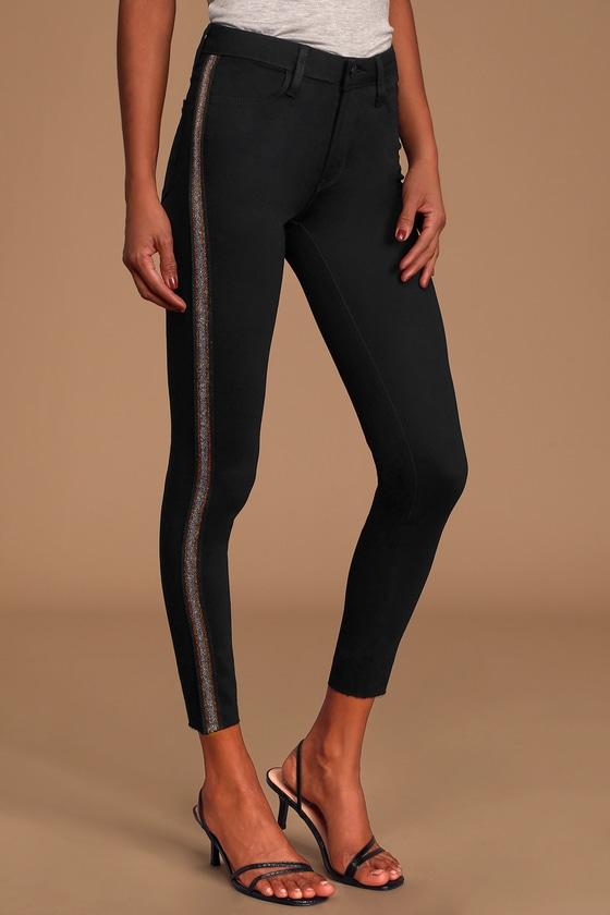 Just Black Glitter Solstice Black Multi Striped Cropped Skinny Jeans