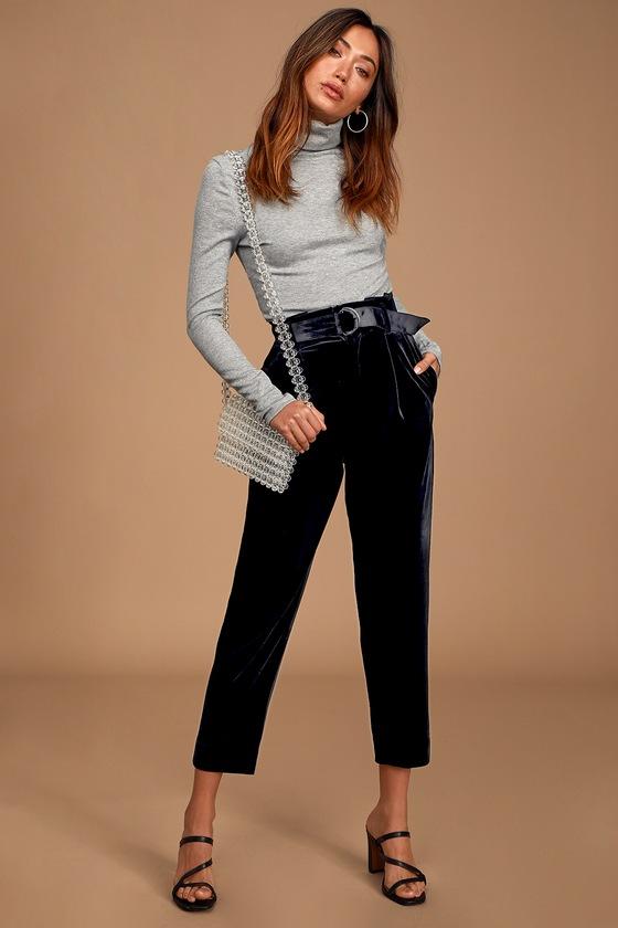 Neon Blonde Roxy Pleat Pants Black Velvet Pants Trouser Pants Lulus
