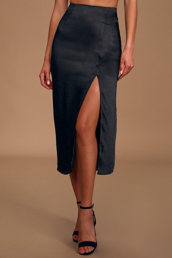 Watch Me Wow Black Satin Midi Skirt