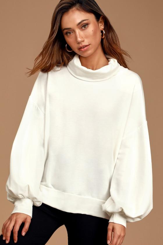 Always Cozy White Balloon Sleeve Turtleneck Sweatshirt