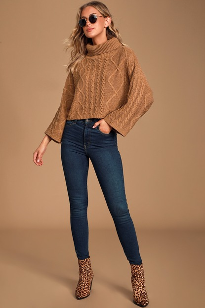 Coffee Break Brown Cable Knit Turtleneck Cropped Sweater