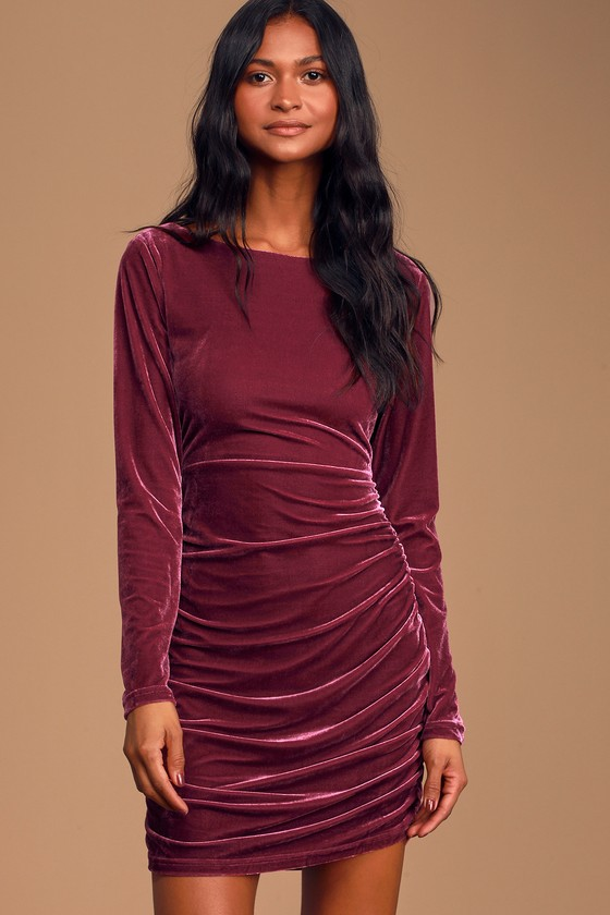 Mauve Purple Dress Velvet Bodycon Dress Ruched Mini Dress Lulus