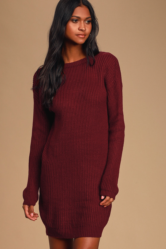 The Lulus Bringing Sexy Back Wine Red Backless Sweater Dress brings a little edge to those chilly days by the fire! A rounded neckline and long sleeves bring all your favorite sweater elements to this dress, with a relaxed shape and deep V-back. Fit: This garment fits true to size. Length: Above mid-thigh. Size small measures 32\