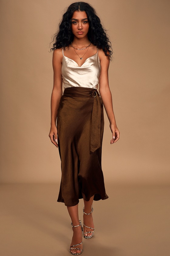 Unforgettable Brown Satin Belted Midi Slip Skirt