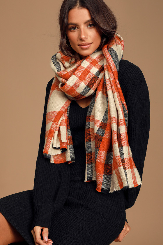 Blissful Thoughts Rust Red Multi Plaid Knit Scarf