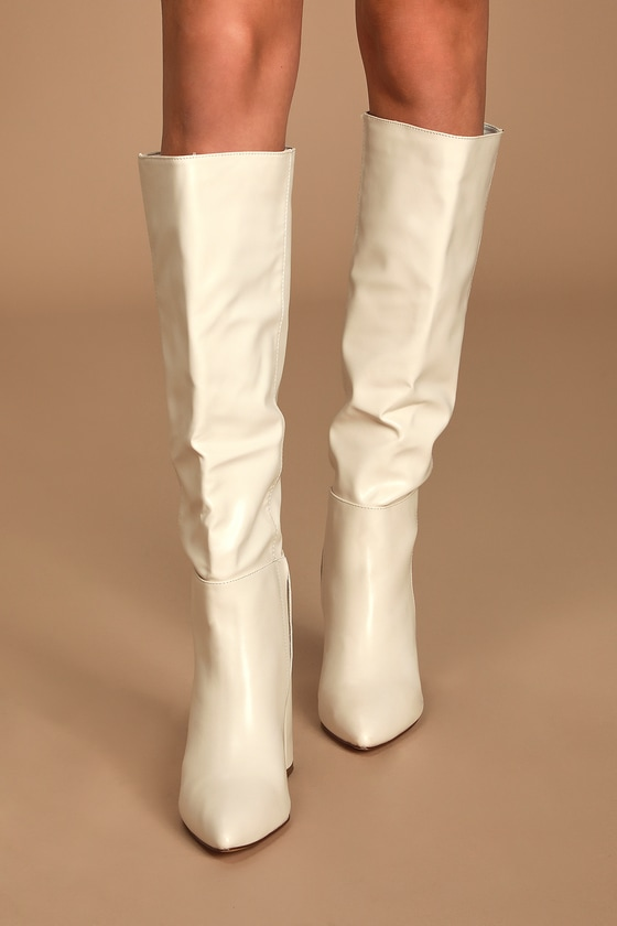 Cute Off White Boots - Vegan Leather