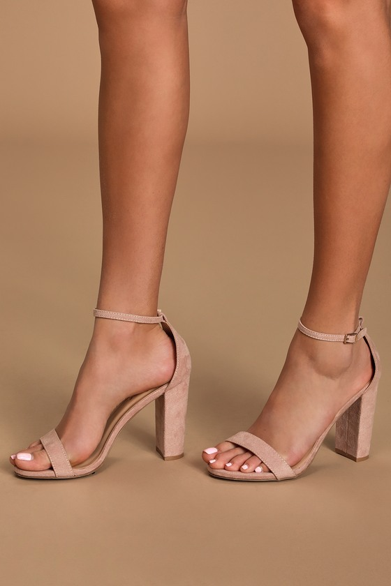Sexy Blush Suede Heels - Ankle Strap