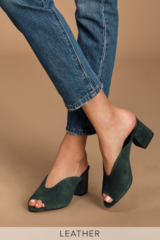 Genuine Leather Heels - Peep-Toe Mules