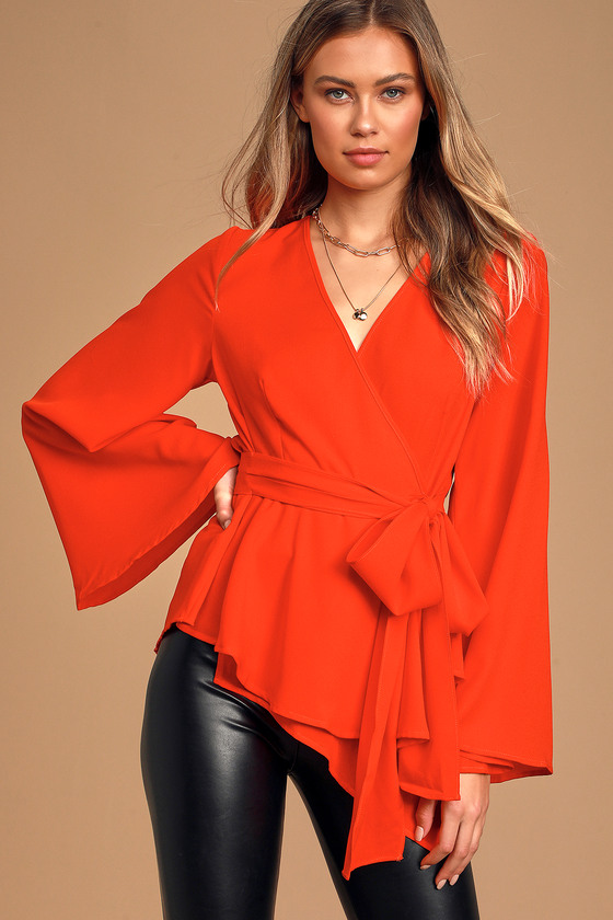 70s Outfits – 70s Style Ideas for Women New Boldness Red Long Sleeve Wrap Top  Lulus $48.00 AT vintagedancer.com