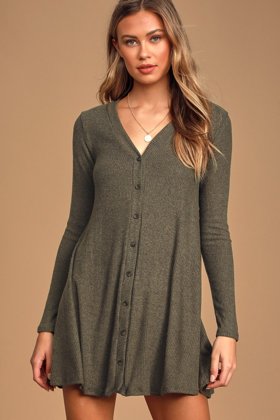 Sweet Comfort Heather Olive Green Button Front Sweater Dress