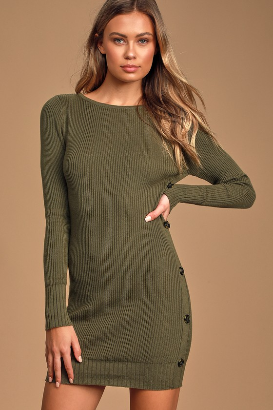 Snowed In Olive Green Side Button Sweater Dress
