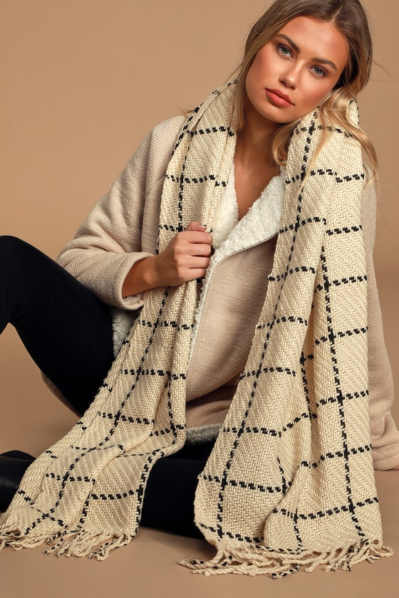 Cozy Afternoon Beige and Black Plaid Knit Scarf