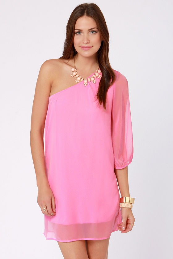 Cute One Shoulder Dress - Pink Dress - Shift Dress - $38.00