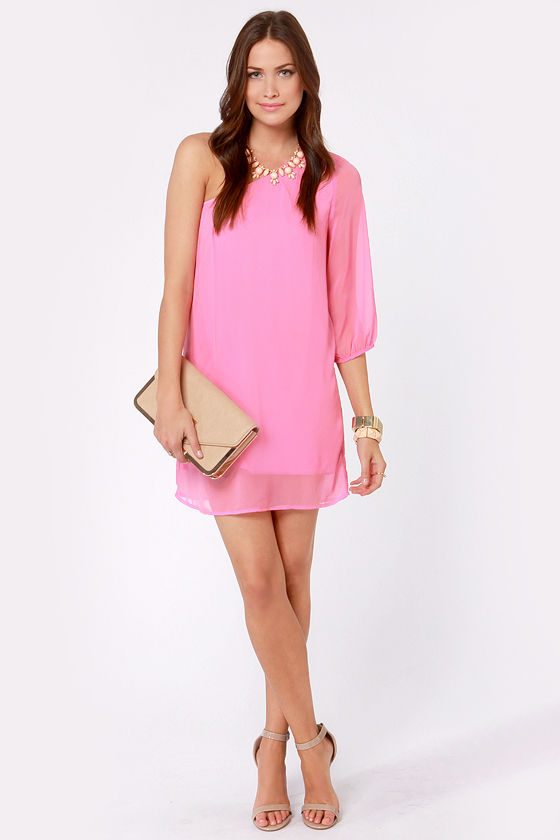 Cute One Shoulder Dress - Pink Dress - Shift Dress - $38.00