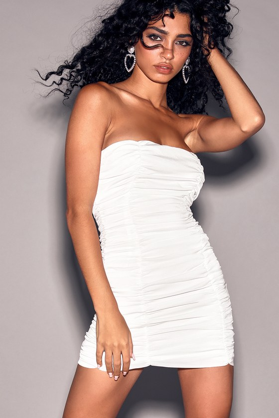 Hidden Talents White Ruched Strapless Bodycon Mini Dress