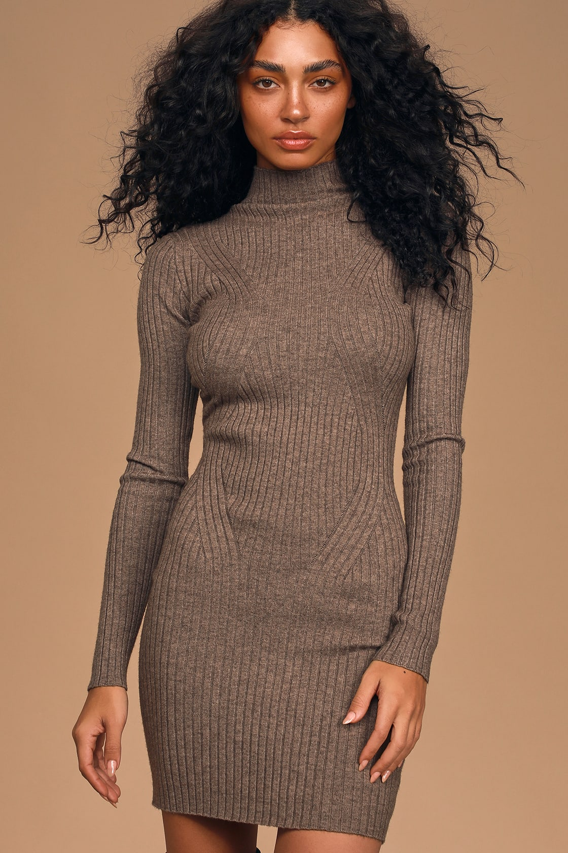 Snug As Can Be Heather Taupe Ribbed Mock Neck Sweater Dress