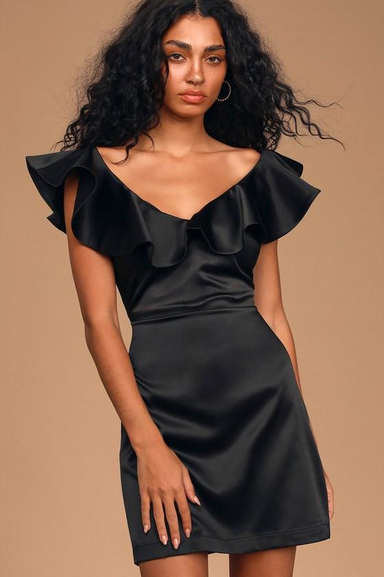 Rufflin' It Black Satin Ruffled Mini Dress