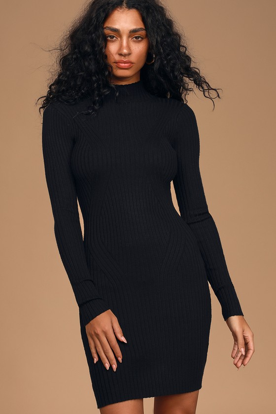 Snug As Can Be Black Ribbed Mock Neck Sweater Dress