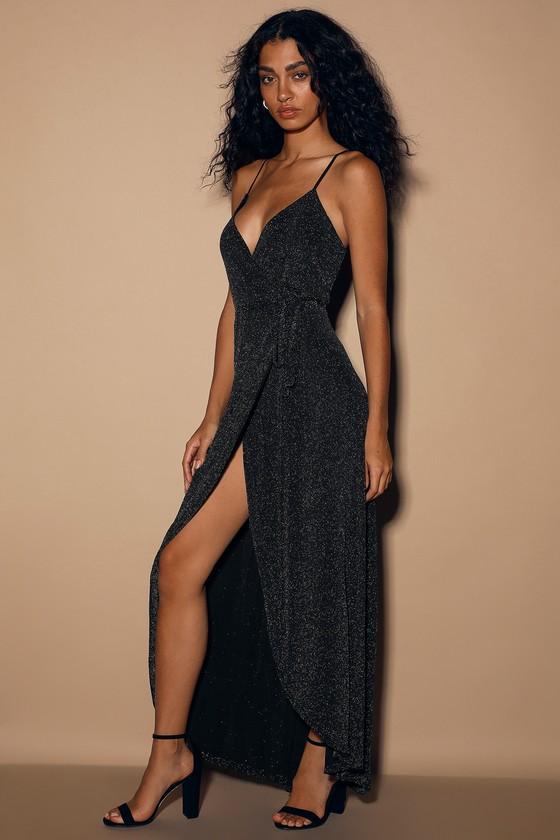 Celestial Black and Silver Wrap Maxi Dress