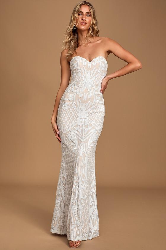 Long White Sequin Dress