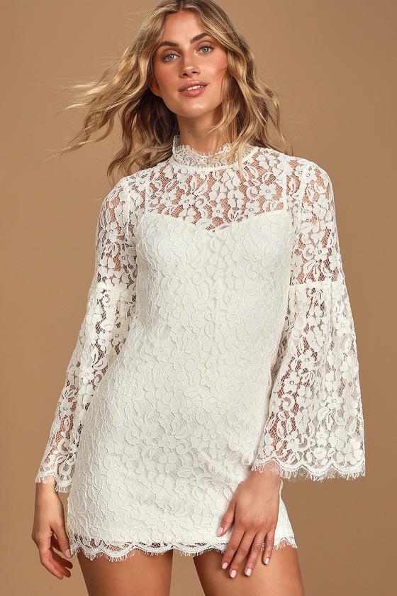 60s Wedding Dresses | 70s Wedding Dresses Major Crush White Lace Long Sleeve Shift Dress - Lulus $68.00 AT vintagedancer.com