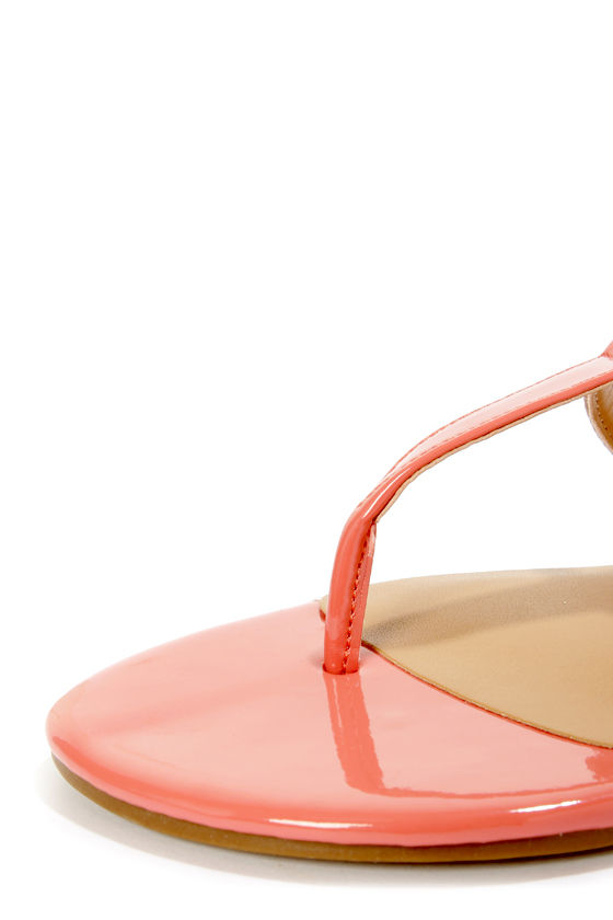 City Classified Rovia Salmon & Light Tan T Strap Thong Sandals at Lulus.com!