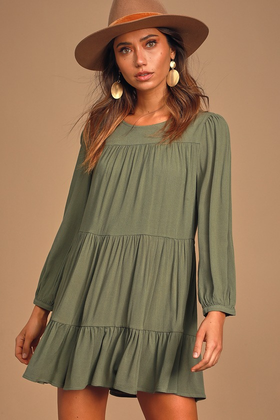 Full of Heart Olive Green Tiered Long Sleeve Swing Dress