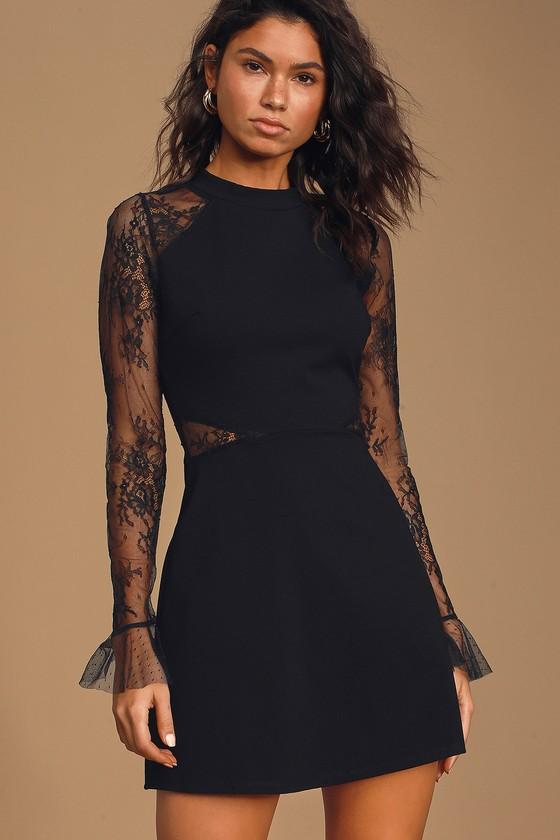 Bragging Rights Black Lace Long Sleeve Skater Dress