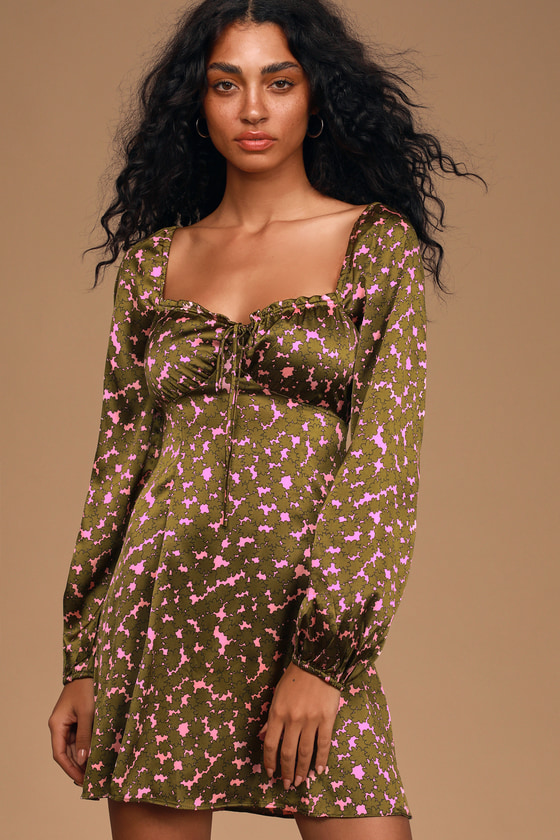 LUSH Feel So Lucky Pink and Green Floral Print Satin Mini Dress