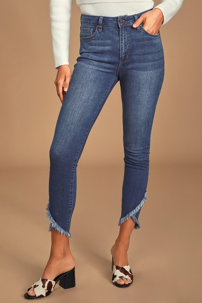 Just Black Bethanee Dark Wash Mid-Rise Skinny Ankle Jeans