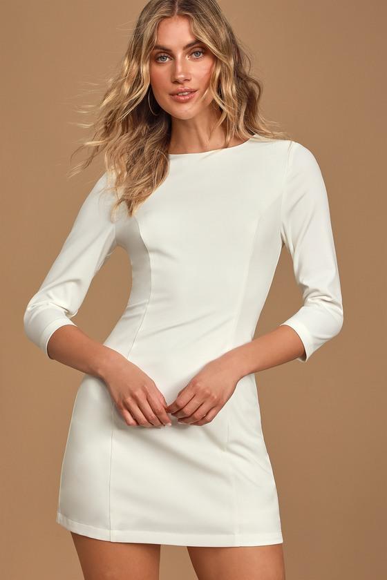 Darling Date White Three-Quarter Sleeve Mini Dress