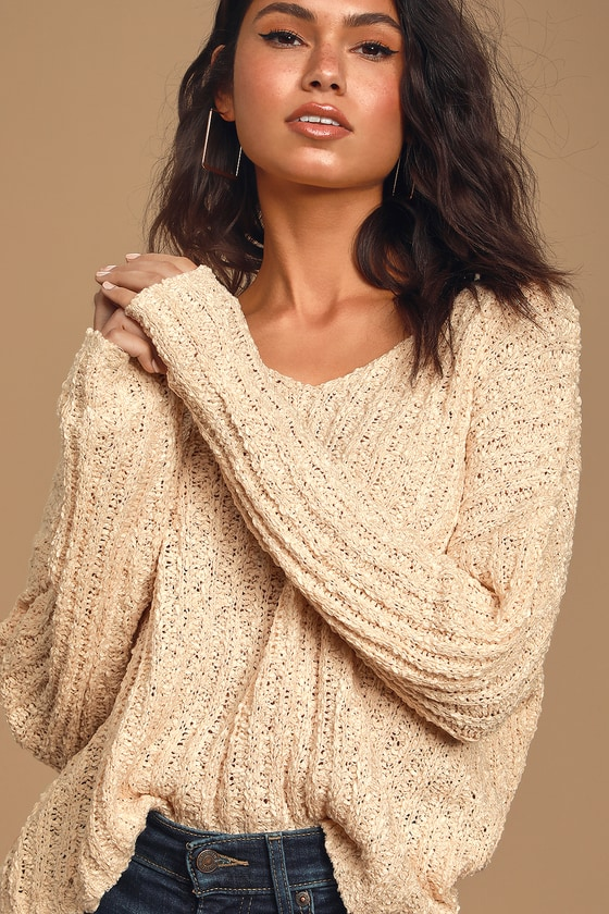 It's Casual Cream Ribbed Knit Sweater Top by Lulus