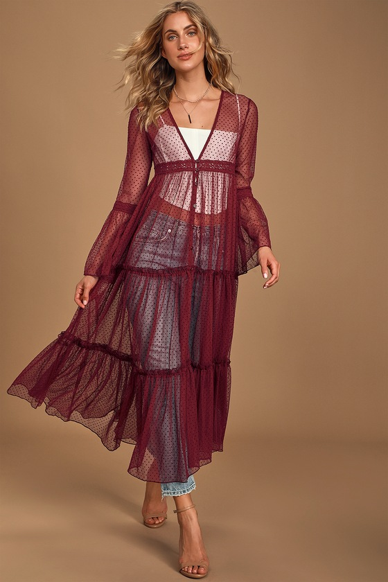 Band Of Gypsies Lucia Burgundy Sheer Swiss Dot Tiered Duster