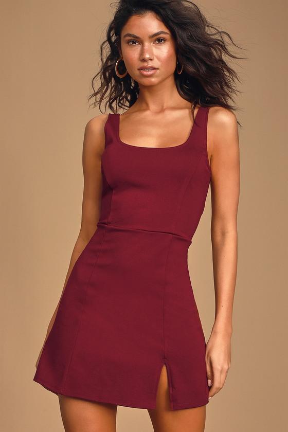 Always Admired Burgundy Sleeveless Mini Dress