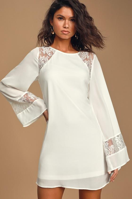 60s Wedding Dresses | 70s Wedding Dresses Better Than a Dream White Lace Long Sleeve Shift Dress - Lulus $51.00 AT vintagedancer.com