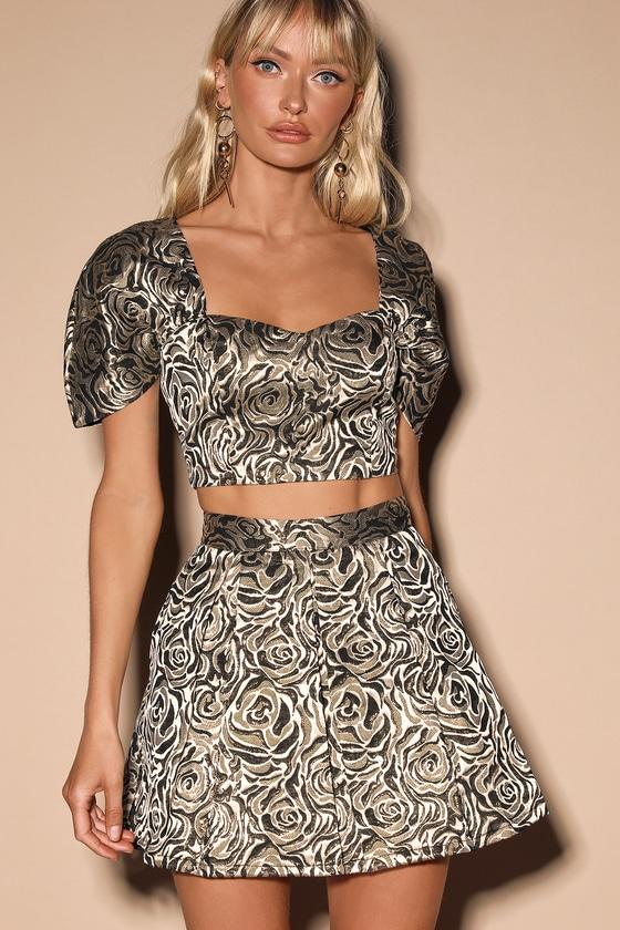 Head-Turner Black Multi Floral Jacquard Two-Piece Dress