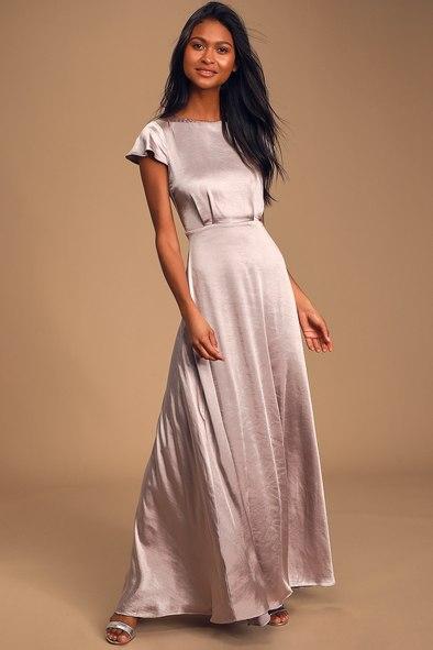 Moments Like This Dusty Lavender Satin Short Sleeve Maxi Dress