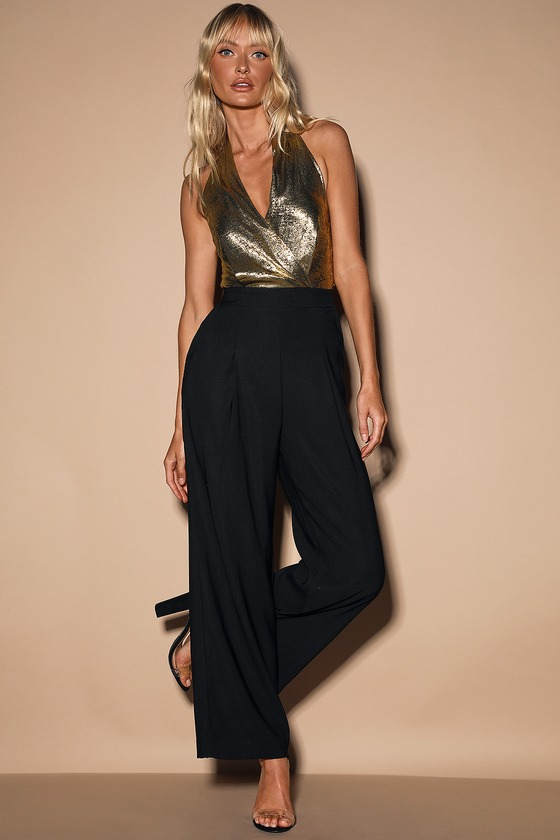 70s Outfits – 70s Style Ideas for Women Warning Shine Metallic Gold and Black Halter Jumpsuit - Lulus $100.00 AT vintagedancer.com