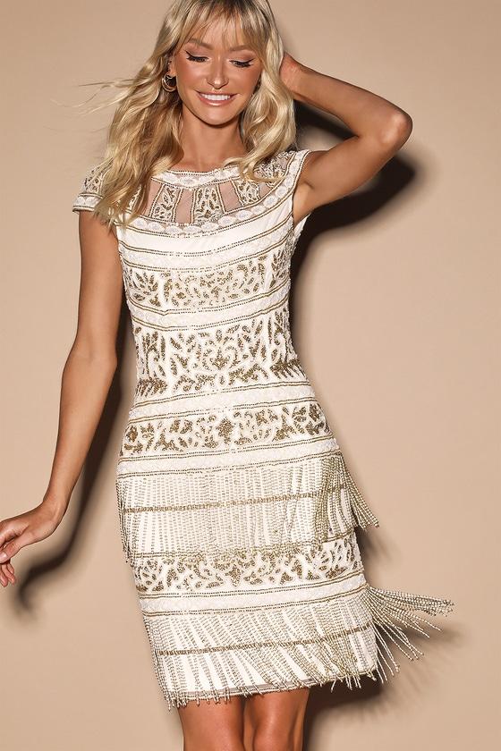 Clara Ivory Beaded Fringe Mini Dress