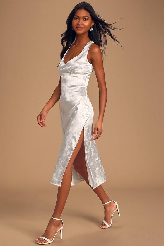 Lovely White Dress Satin Midi Dress Sleeveless Dress