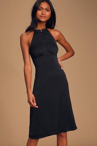 Have Heart Black Sleeveless Halter Midi Dress