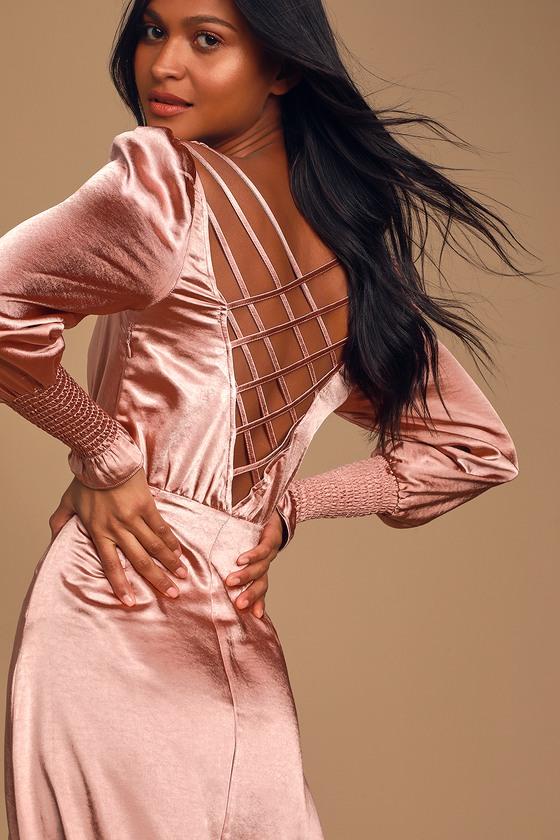 Chic Mauve Pink Dress - Backless Midi Dress - Long Sleeve Dress