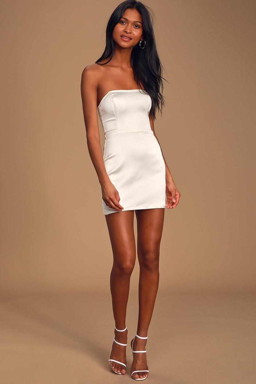 Sexy White Dress Satin Bodycon Dress Strapless Mini Dress Lulus