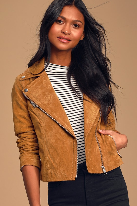 Joy Ride Tan Suede Leather Moto Jacket