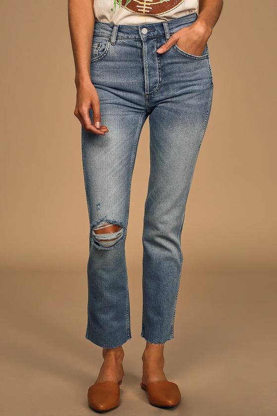 Boyish Dempsey Medium Wash High-Rise Straight Leg Cropped Jeans