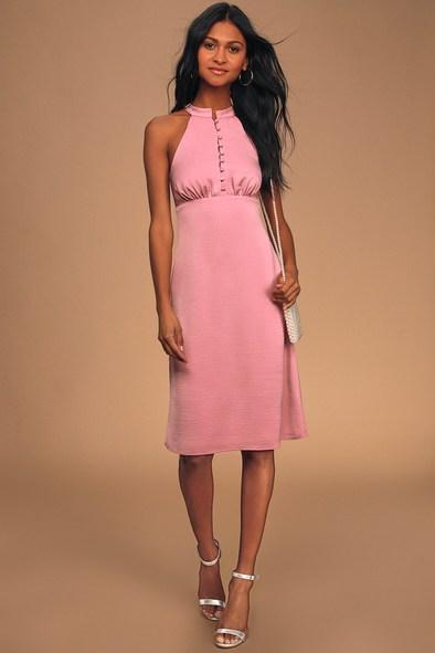 Have Heart Mauve Pink Sleeveless Halter Midi Dress