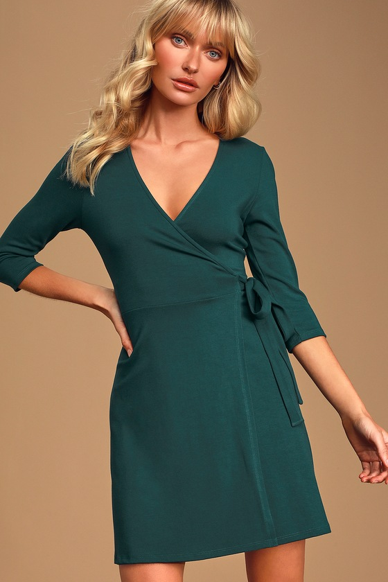 All At Once Forest Green Three-Quarter Sleeve Wrap Dress - Lulus