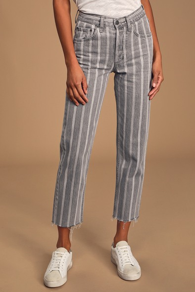 Boyish Tommy Washed Grey Striped High Rise Jeans
