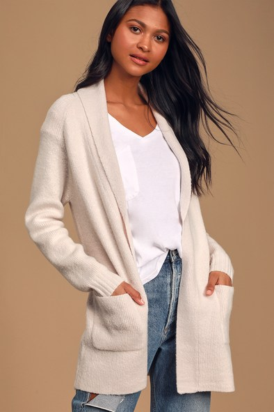 Always Be Mine Cream Knit Belted Cardigan Sweater