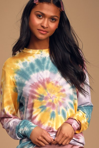 Only Good Vibes Yellow Multi Tie-Dye Pullover Sweatshirt